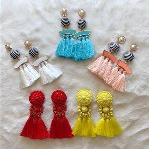 Set of fringe drop earrings